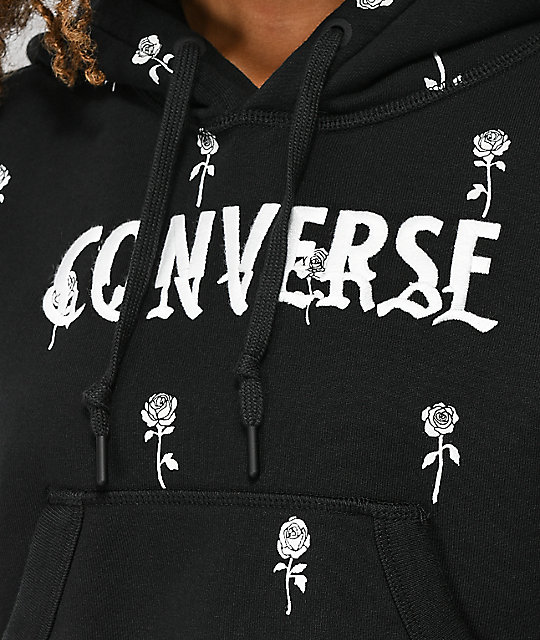 Converse Essentials Roses Print Black Crop Hoodie