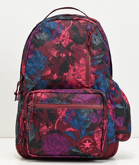 Converse Go Floral Burgundy Backpack  f3501914d8b11