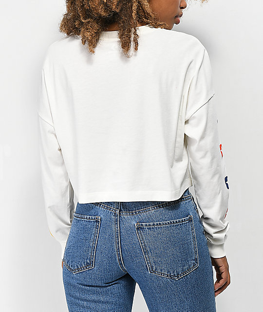 Converse Heritage White Cropped Long Sleeve T-Shirt
