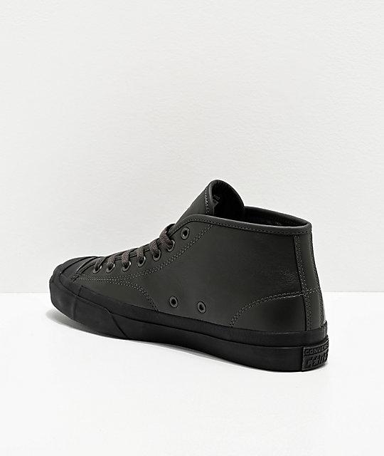 Converse Jack Purcell Pro Jake Johnson Dark Olive & Black Mid Top Skate Shoes