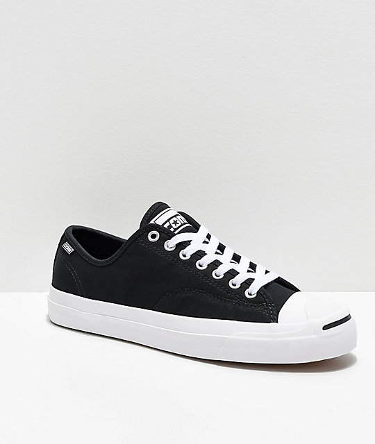 Converse Jack Purcell Pro Rip-Through Flame Black & White Skate Shoes