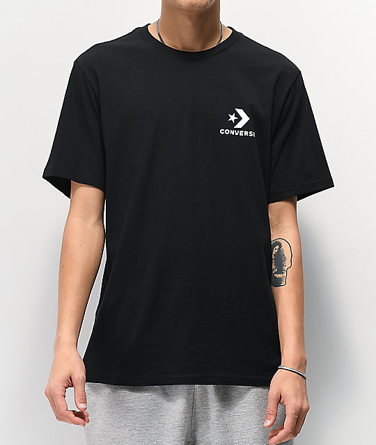 Converse Left Chest Star Black T Shirt