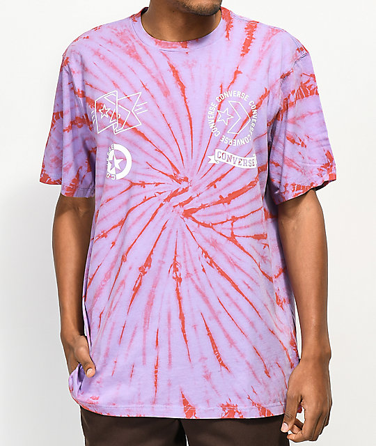Converse Multi-Graphic Purple & Orange Tie Dye T-Shirt