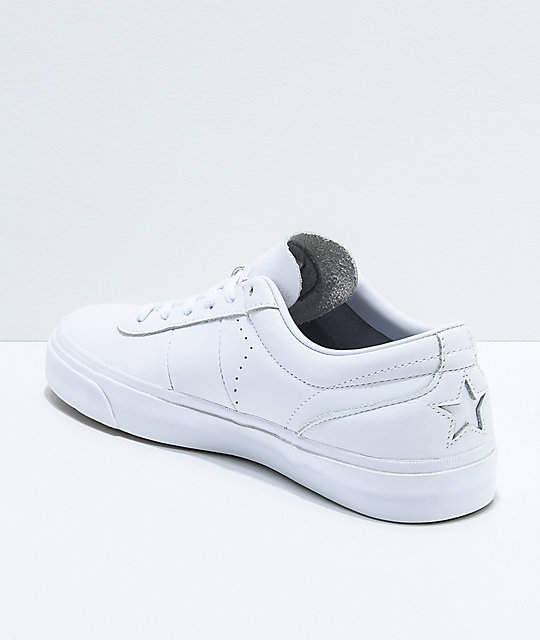 ... Converse One Star CC All White Leather Skate Shoes ... 743ddfa00d87