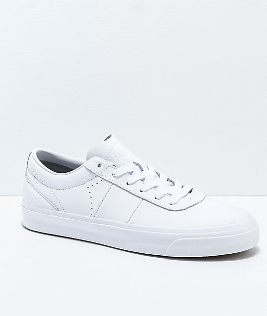 5994a07f53a4 Converse One Star CC All White Leather Skate Shoes