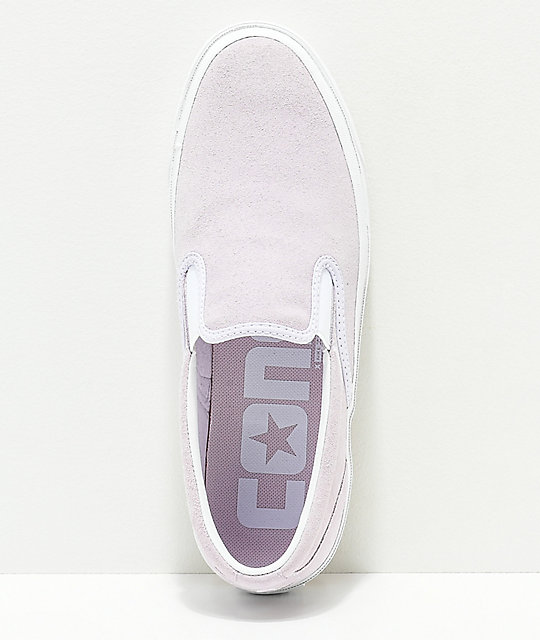 cba9c338fda1 ... Converse One Star CC Slip-On Barely Grape   White Skate Shoes ...