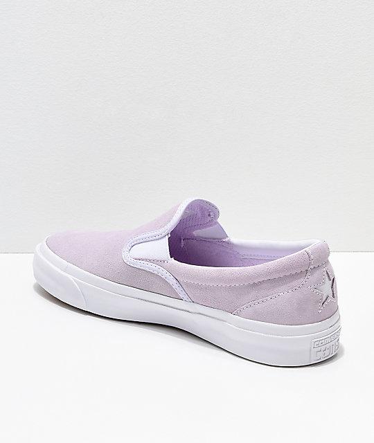 bfcc37559224 ... Converse One Star CC Slip-On Barely Grape   White Skate Shoes ...