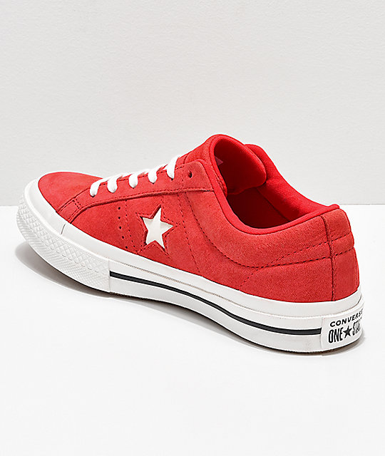 Converse One Star Cherry Red & Vintage White Leather Skate Shoes