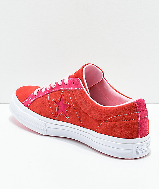 34ad4592256a19 ... Converse One Star Enamel Red   Pink Pop Suede Skate Shoes ...