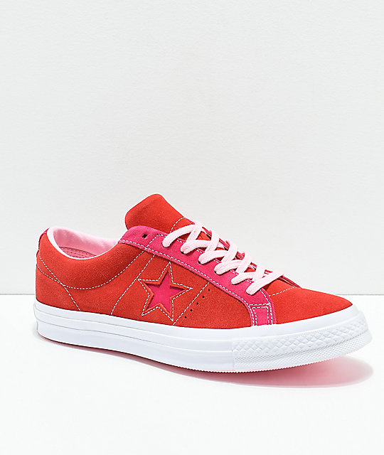 Converse One Star Enamel Red & Pink Pop Suede Skate Shoes