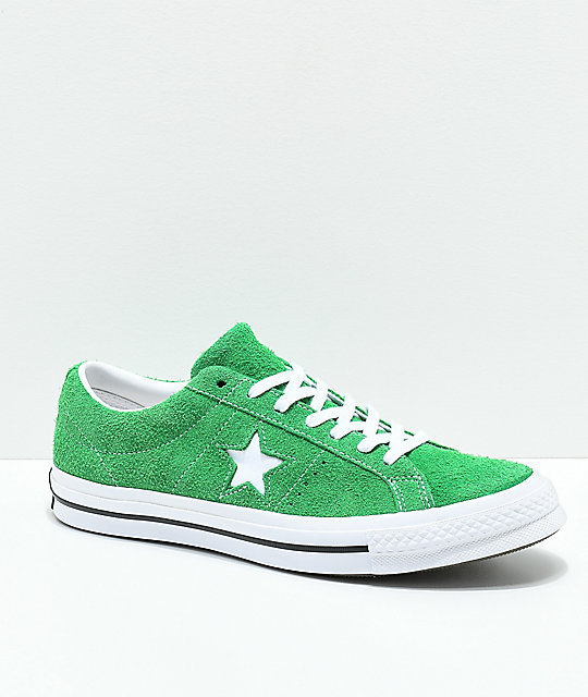Converse One Star Green, White & Black Suede Skate Shoes