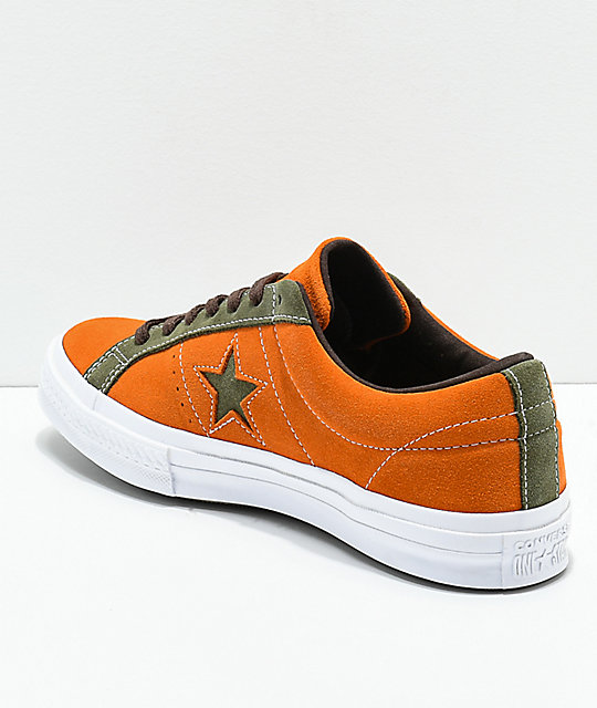 Converse One Star Mandarin Orange & Field Green Suede Skate Shoes