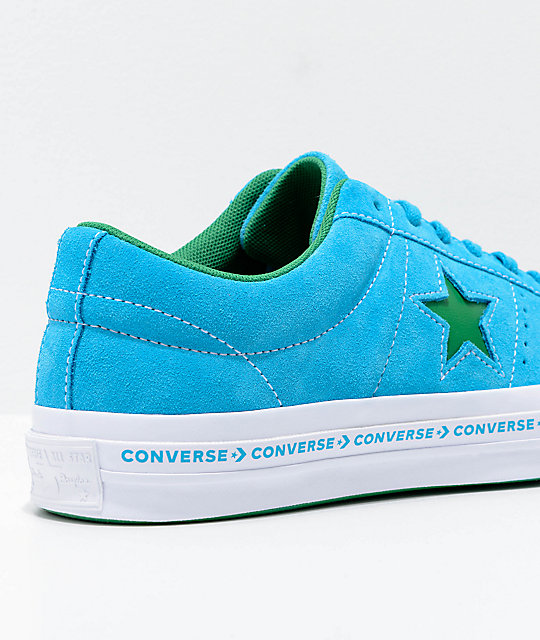 Converse One Star Pinstripe Hawaiian Ocean, Jolly Green & White Skate Shoes