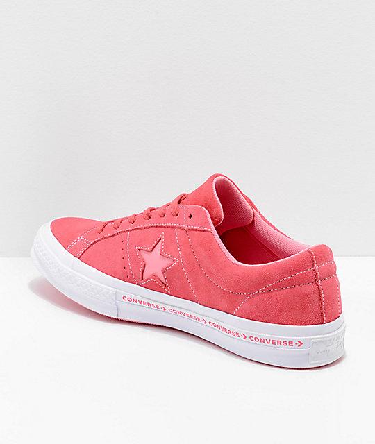 1a106bf43b97 ... Converse One Star Pinstripe Paradise Pink   Geranium Skate Shoes ...