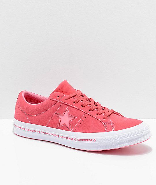 c7217151e518 Converse One Star Pinstripe Paradise Pink   Geranium Skate Shoes ...