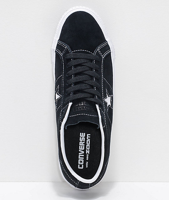 Converse One Star Pro Black & White Suede Skate Shoes