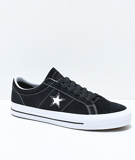 66cd6532def854 Converse One Star Pro Black   White Suede Skate Shoes