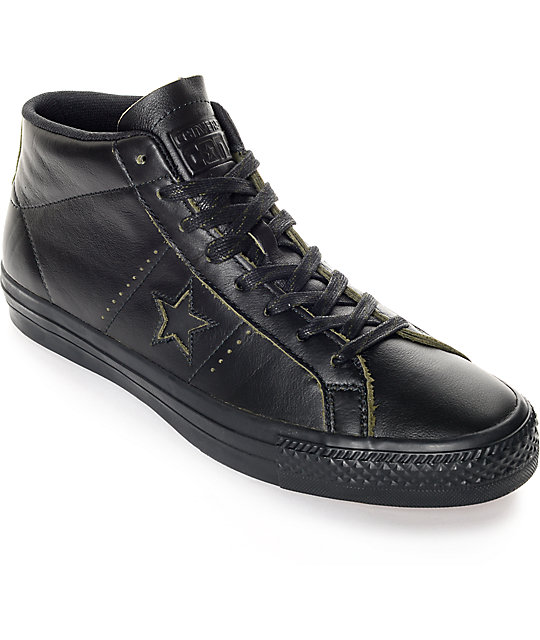 Converse One Star Pro Mid Black Leather Skate Shoes  a664a2a97da4