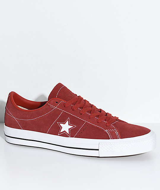 Converse One Star Pro Terra Red   White Skate Shoes  86e065a96883