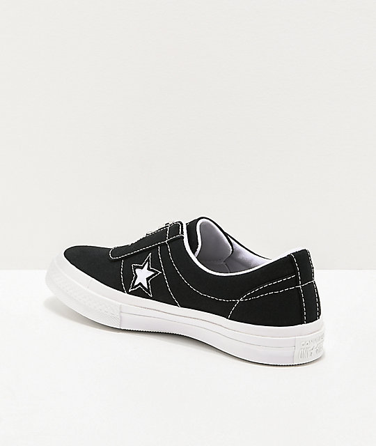 Converse One Star Slip-On zapatos de skate negros y blancos