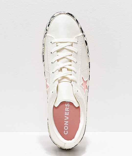 Converse One Star White & Floral Platform Shoes
