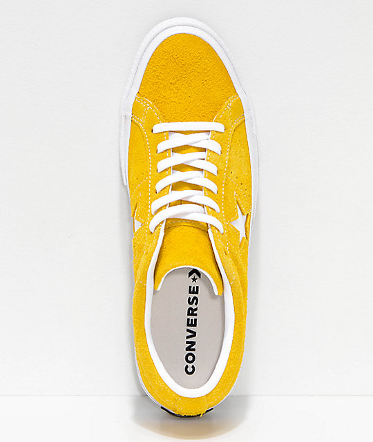 Converse One Star zapatos de skate de ante en color amarillo y blanco