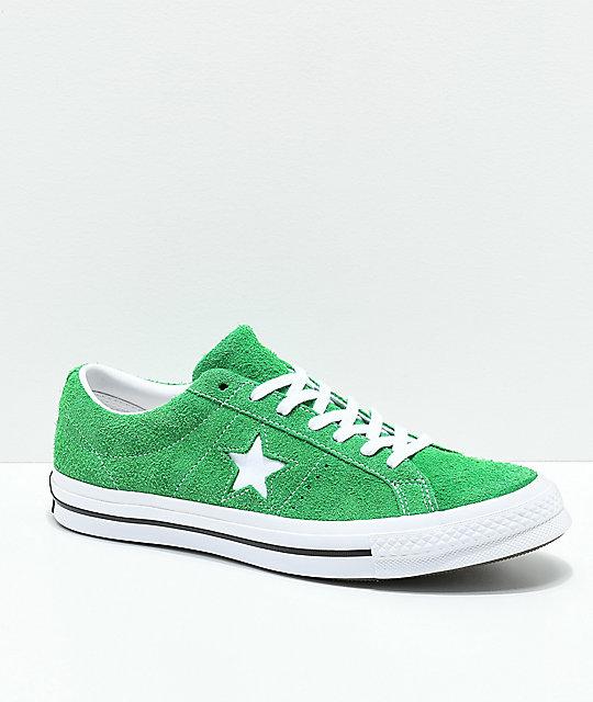 100% de alta calidad zapatos exclusivos grandes variedades Converse One Star zapatos de skate en verde y blanco