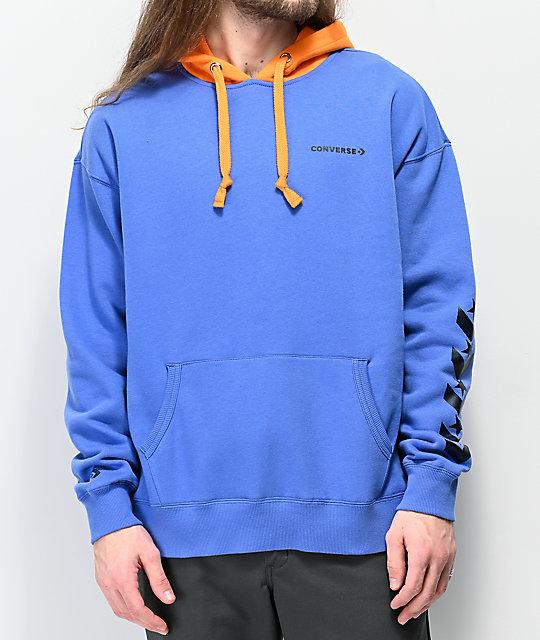 Converse Repeated Chevron Star Blue & Orange Hoodie