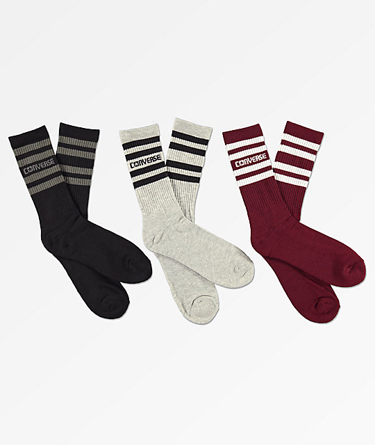 Converse Retro Stripe Three Pack Crew Socks