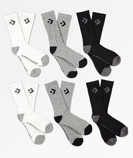 2cf9a4ef8221f Converse Six Pack Black, Grey & White Crew Socks