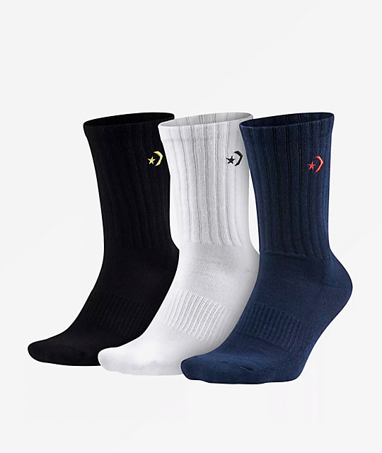 Converse Star Grey, White, & Blue 3 Pack Crew Socks