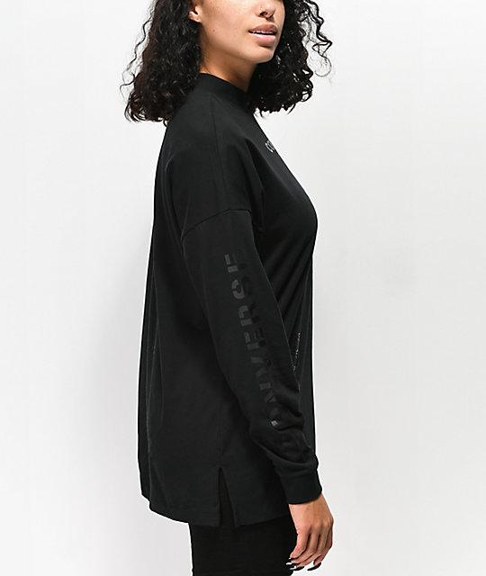 5371ca226b5f ... Converse Stencil Black Mock Neck Long Sleeve T-Shirt ...