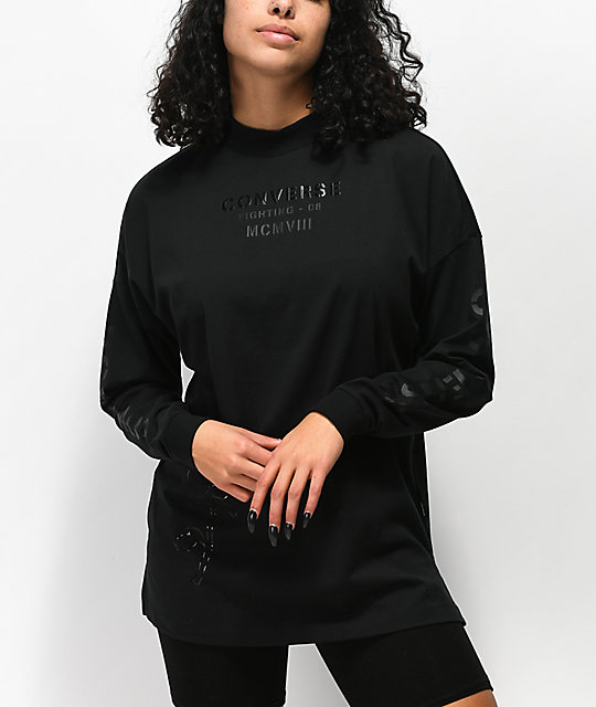 660ef250b6f8 Converse Stencil Black Mock Neck Long Sleeve T-Shirt
