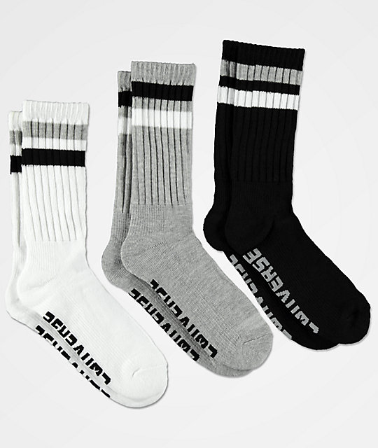 db2663cd693c6 Converse White, Light Grey & Black 3 Pack Crew Socks
