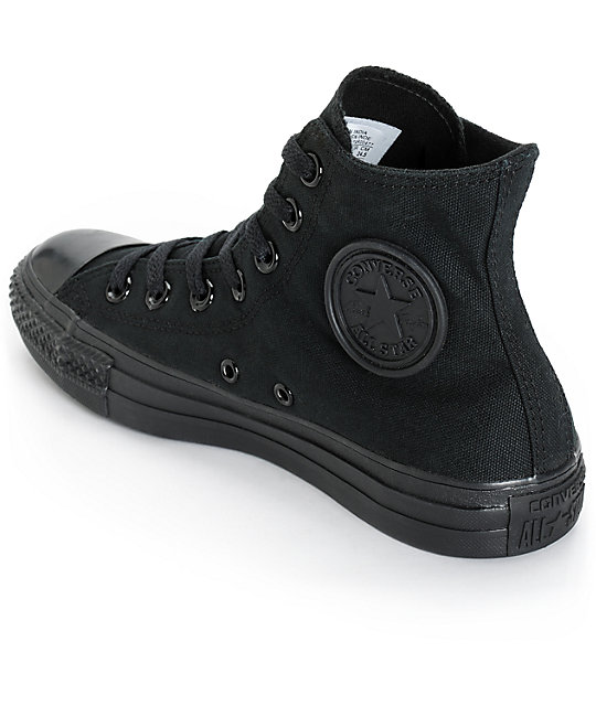 6664c75bff6 ... Converse Womens Chuck Taylor All Star All Black High Top Shoes ...