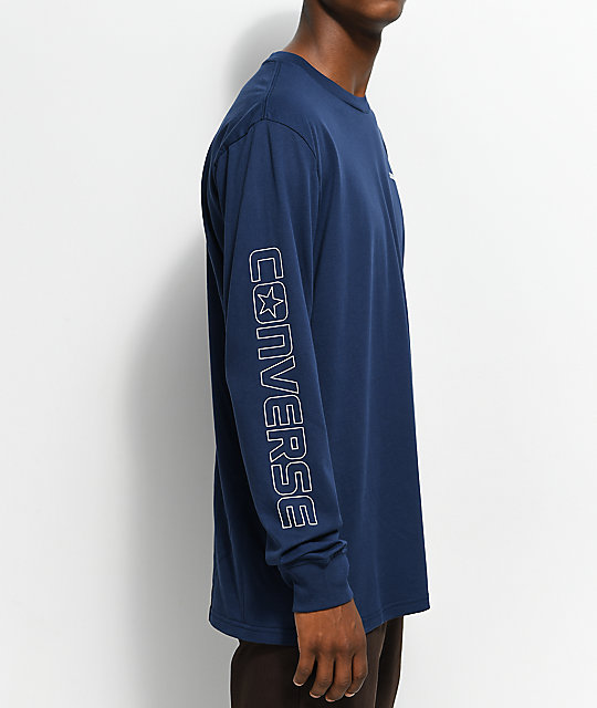 Converse Wordmark Navy Long Sleeve T-Shirt