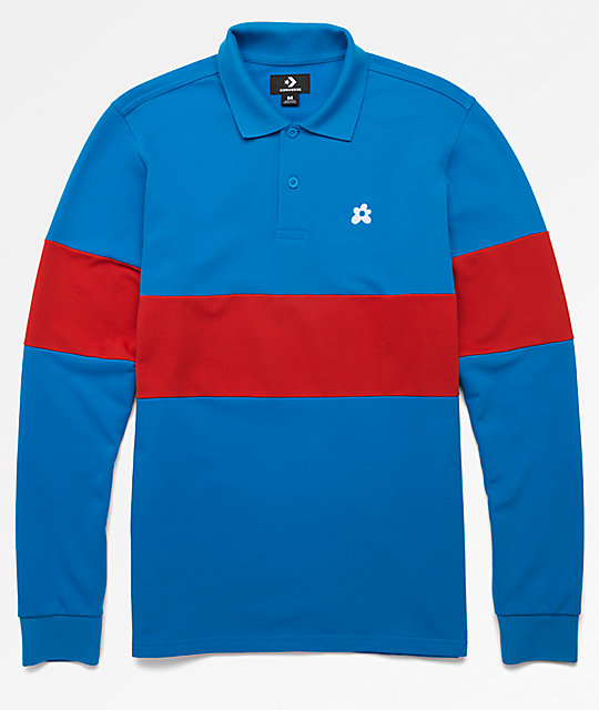 Converse x Golf Wang Le Fleur Blue Long Sleeve Polo Shirt