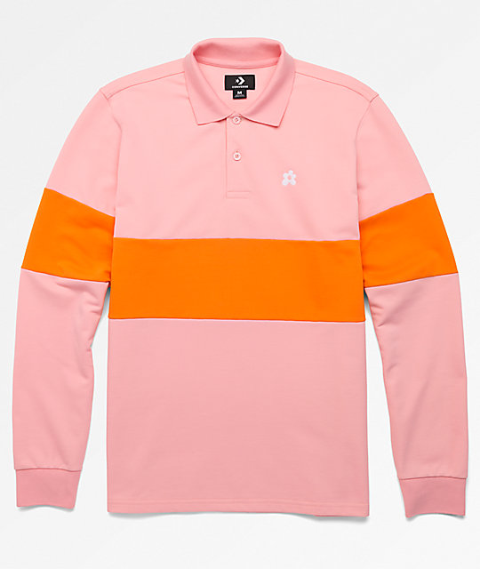 Converse X Golf Wang Le Fleur Pink Long Sleeve Polo Shirt Zumiez