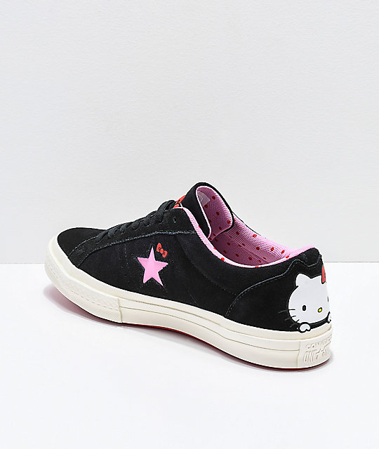03a1c3f8f25 ... Converse x Hello Kitty One Star Black   White Skate Shoes ...