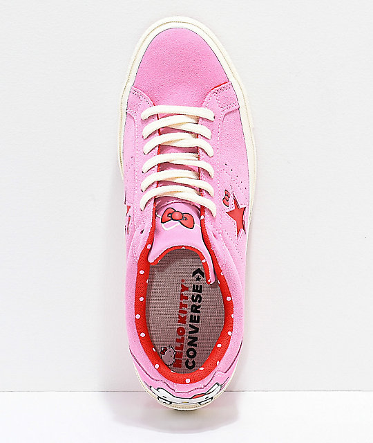 ... Converse x Hello Kitty One Star Pink   White Skate Shoes ... 082eb91df