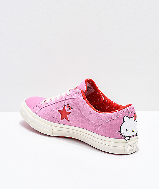 7f0127e00f3 ... Converse x Hello Kitty One Star Pink   White Skate Shoes ...