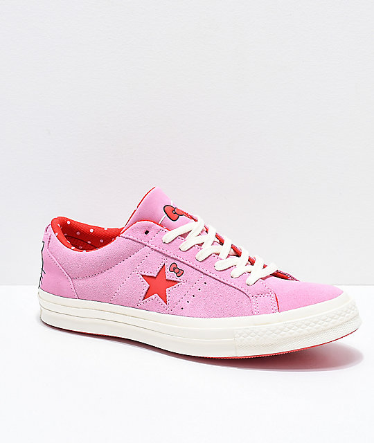 Converse x Hello Kitty One Star Pink   White Skate Shoes  a18dfdae3