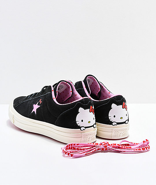 y zapatos Kitty Converse blancos negros One x Star Hello de skate 6x6nzpA