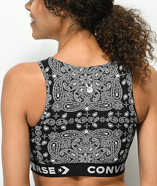 Converse x Miley Cyrus Bandana Black Crop Sports Bra