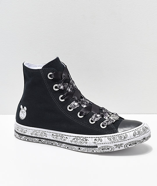 02227270b529 Converse x Miley Cyrus Black   White Bandana High Top Shoes