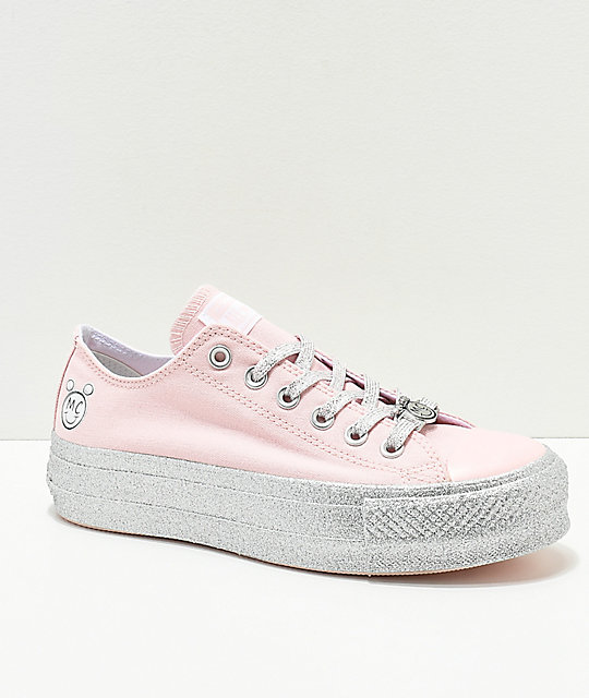 3bc2dc86f07a0a Converse x Miley Cyrus Lift Pink Glitter Shoes