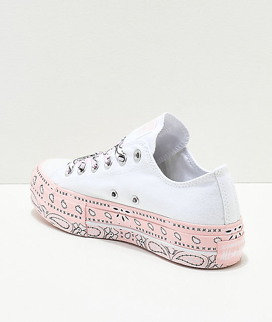 e96e4da7ec7f65 ... Converse x Miley Cyrus Lift White   Pink Bandana Shoes ...