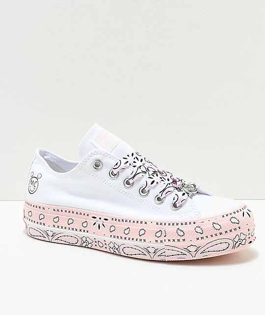 869edd91db74a7 Converse x Miley Cyrus Lift White   Pink Bandana Shoes