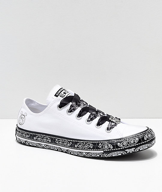 Converse x Miley Cyrus White & Black Bandana Shoes