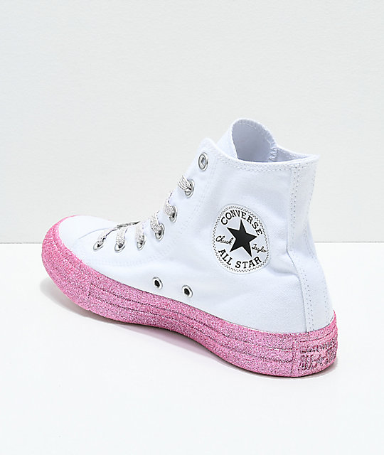 1dc64da715ae ... Converse x Miley Cyrus White   Pink Glitter High Top Shoes ...